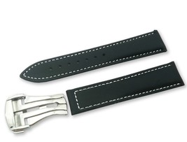 Black/White Leather Watch Strap Band for Omega Seamaster Clasp 18 19 20 ... - $37.26+
