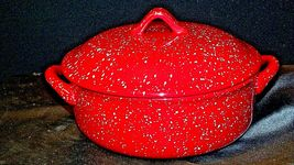 Red W.M.G. Ceramic Double Handle Serving Dish with Lid AA20-2128 Vintage image 6