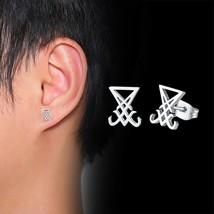 Sigil of Lucifer Satanic symbol  Seal of Satan Ear Stud Earrings stainle... - $4.99