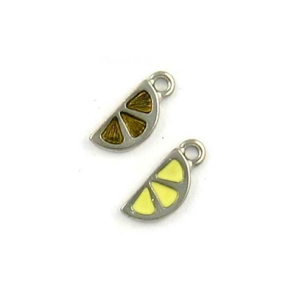 CITRUS WEDGE EPOXY FINE PEWTER PENDANT CHARM 15mm x 6mm x 2mm