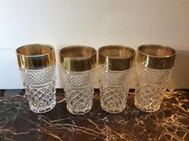 Diamond Cut Crystal Set of 4 Gold Rimmed Highball Glasses - $9.90