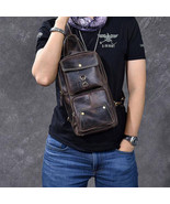 On Sale, Horse Leather Men Chest Bag, Handmade Chest Pack, Vintage Messe... - $135.00