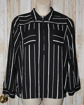 Womens Black White Striped My Michelle 3/4 Long Sleeve Shirt Size XL exc... - $7.91
