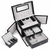 Juns Jewelry Box Organizer with Mini Travel Jewelry Case, Removable Tray... - €35,66 EUR