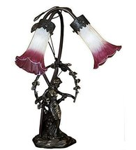 "Meyda Tiffany 16697 Trellis Girl 2 Light Lily Table Lamp, 17"", Pink/White - $108.00"