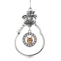 Inspired Silver Bengal Cat Circle Snowman Holiday Christmas Tree Ornament With C - $14.69