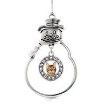 Inspired Silver Bengal Cat Circle Snowman Holiday Christmas Tree Ornamen... - $14.69