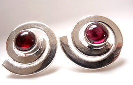 Round Garnet Stud Earrings in Silver Spiral 925 Sterling Silver New - $13.85