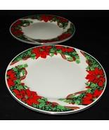2 Holiday Dessert Salad Plates Gibson Christmas Holly Ribbon Poinsettias... - $26.72