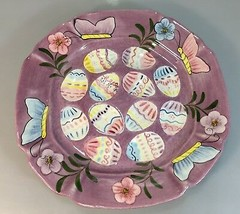 """Laurie Gates Purple Easter Egg Plate Platter 11.5"""" Square Made in USA 2002 - $32.83"""