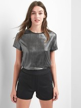GAP Women's Metallic Crewneck Tee, Gunmetal, Solid Polyester Blend, Size... - $29.99