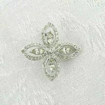 "Vintage Cross Brooch Pin 1.5"" Silver Metal Clear Rhinestones - $16.82"