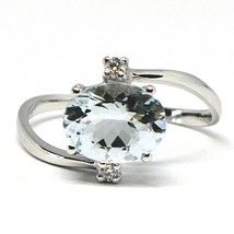 18K WHITE GOLD BAND RING AQUAMARINE 2.00 OVAL CUT & DIAMONDS, MADE IN ITALY image 1