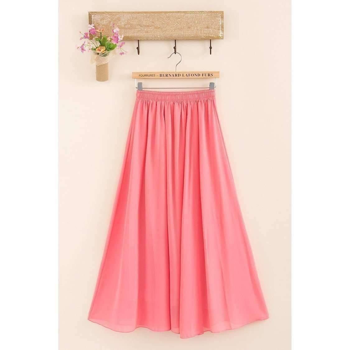 Candy Color Elegant Pleated Women Chiffon Maxi Skirt