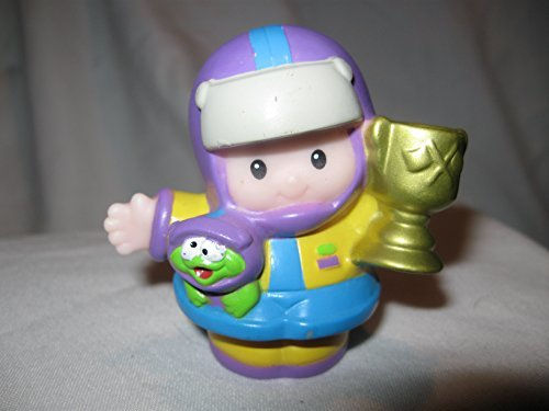 Fisher Price Little People Race Car Driver Eddie Holding Trophy Purple, Yellow A