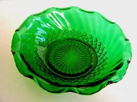 "Anchor Hocking Forest Green 6 1/4"" Salad Fruit Candy Bowl Swirl Diamond Pattern - $7.87"