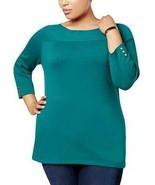 $49.50 Karen Scott Plus Size ¾ Sleeve Boatneck Sweater, 3X, True Teal - $17.08