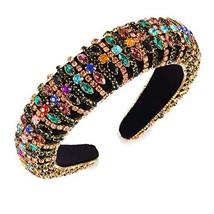 Rhinestone Padded Headband for Women Wide Velvet Hairband Handmade Boho ... - $25.78