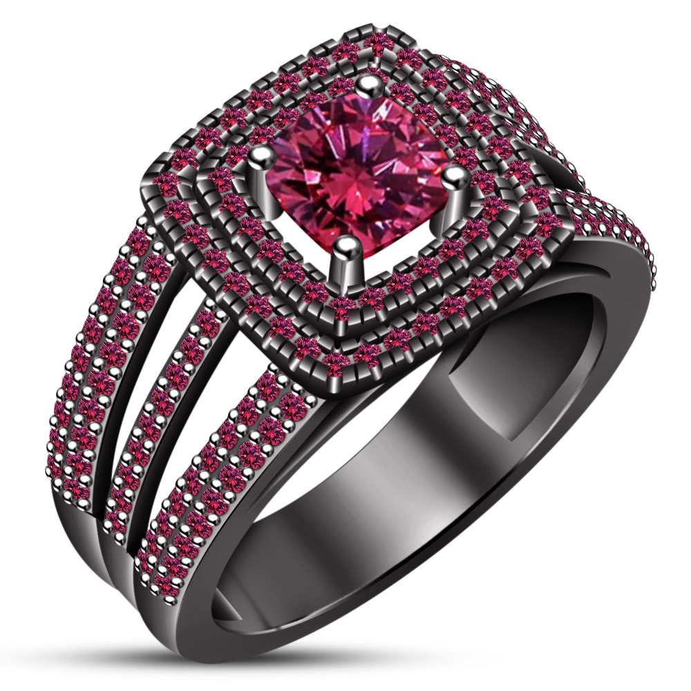 Engagement Ring Set Cushion Cut Pink Sapphire 14k Black Gold Plated 925 Silver