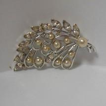 Vintage Kramer Rhinestone/Crystal/Faux Pearl Leaf Brooch/Pin - $74.25