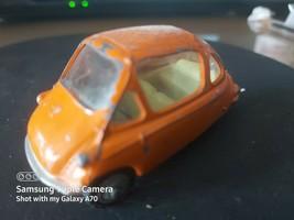 Vintage Corgi 233 -- Heinkel Trojan Bubble Car - Orange - Detailed Hubs - $15.76