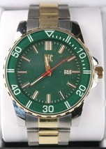 I.N.C. Men's 44mm Gold Silver Two-Tone Bracelet w Blue Dial Date Wrist Watch NIB image 2