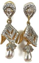 Ea  e253  Bollywood Fashion Pearls &  Polki Earring Set. Indian Jewelry - $24.99