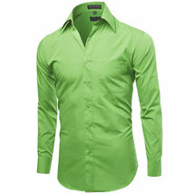 NEW Omega Italy Men's Dress Shirt Long Sleeve Solid Color Regular Fit 15 Colors image 3