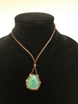 BARSE Turquoise Necklace Pendant Silverplate Setting Leather Rope Chain NEW - $59.89