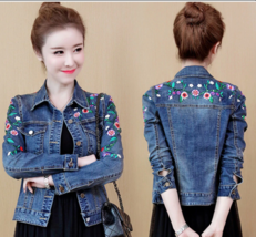 Women Floral Embroidery Short Denim Jacket Lady Elegant Single Breasted ... - $40.32