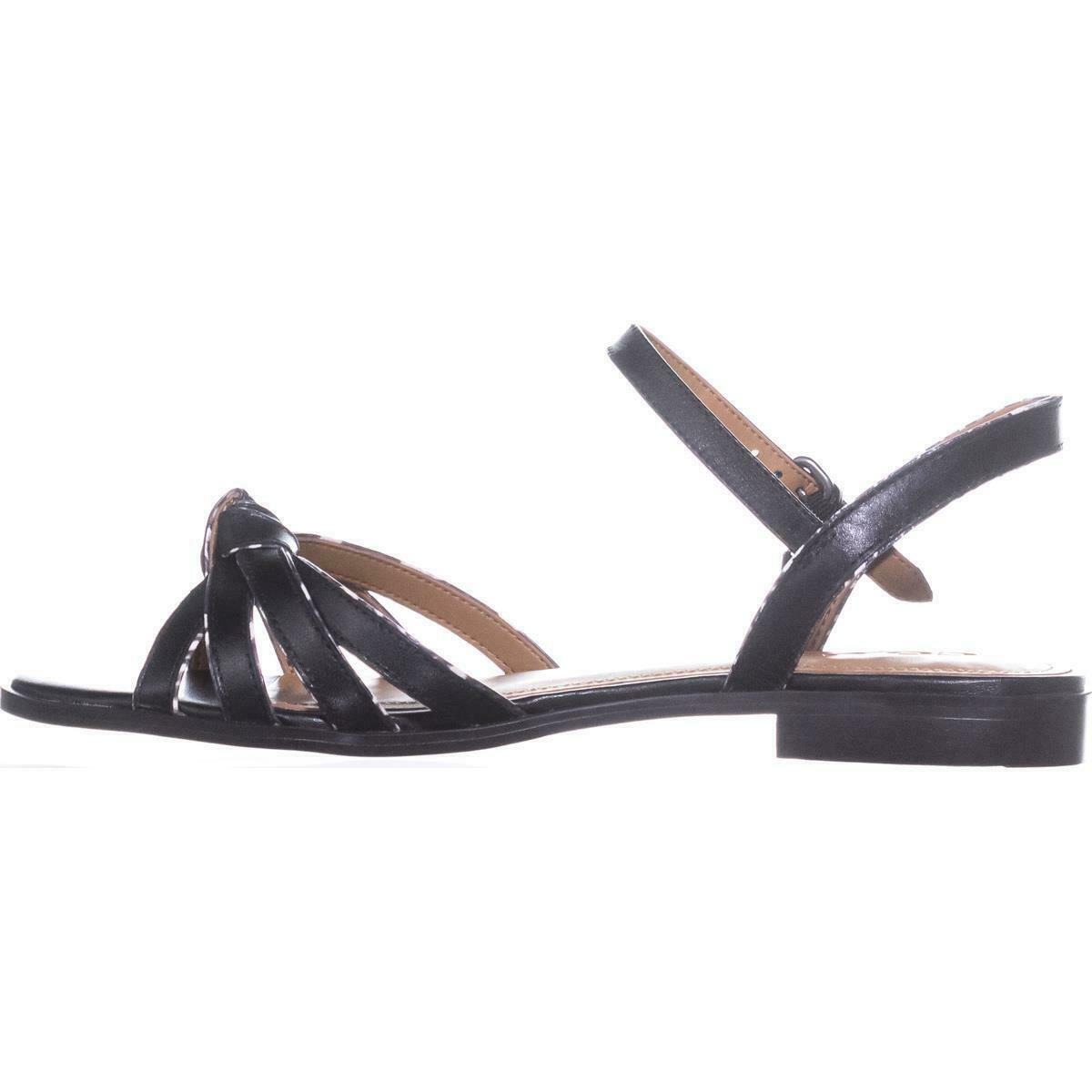 Coach Sophia Ankle Strap Flat Sandals, Black/Black White, 8 US / 38 EU