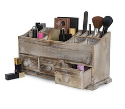 Vanity Drawer Beauty Organizer 3 Drawers - Wooden Cosmetic Storage Box for Neat