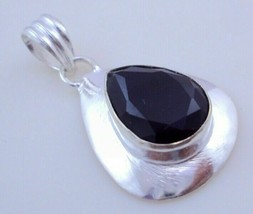 Faceted Black Onyx Silver Overlay Handmade Pendant Jewelry 11 Gr. F-393_91 - $3.83