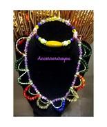 Glass bead necklace and bracelet set - $15.00