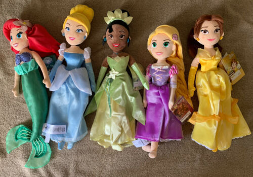 Primary image for Lot Of 5 Disney Princess Plush Dolls Ariel Cinderella Belle Rapunzel Tiana NWTs
