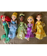 Lot Of 5 Disney Princess Plush Dolls Ariel Cinderella Belle Rapunzel Tia... - $89.09