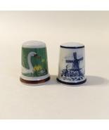 Royal Mosa Thimbles Vintage Porcelain Swans Windmill Gold Trim Lot of 2 - $20.00