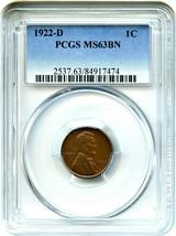 1922-D 1c PCGS MS63 BN - Lincoln Cent - $252.20