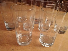"SET OF 9 VINTAGE ETCHED 5.5"" GLASSES w/SCHOONER/BIRD-WEIGHTED BOTTOM-EXC... - $22.40"