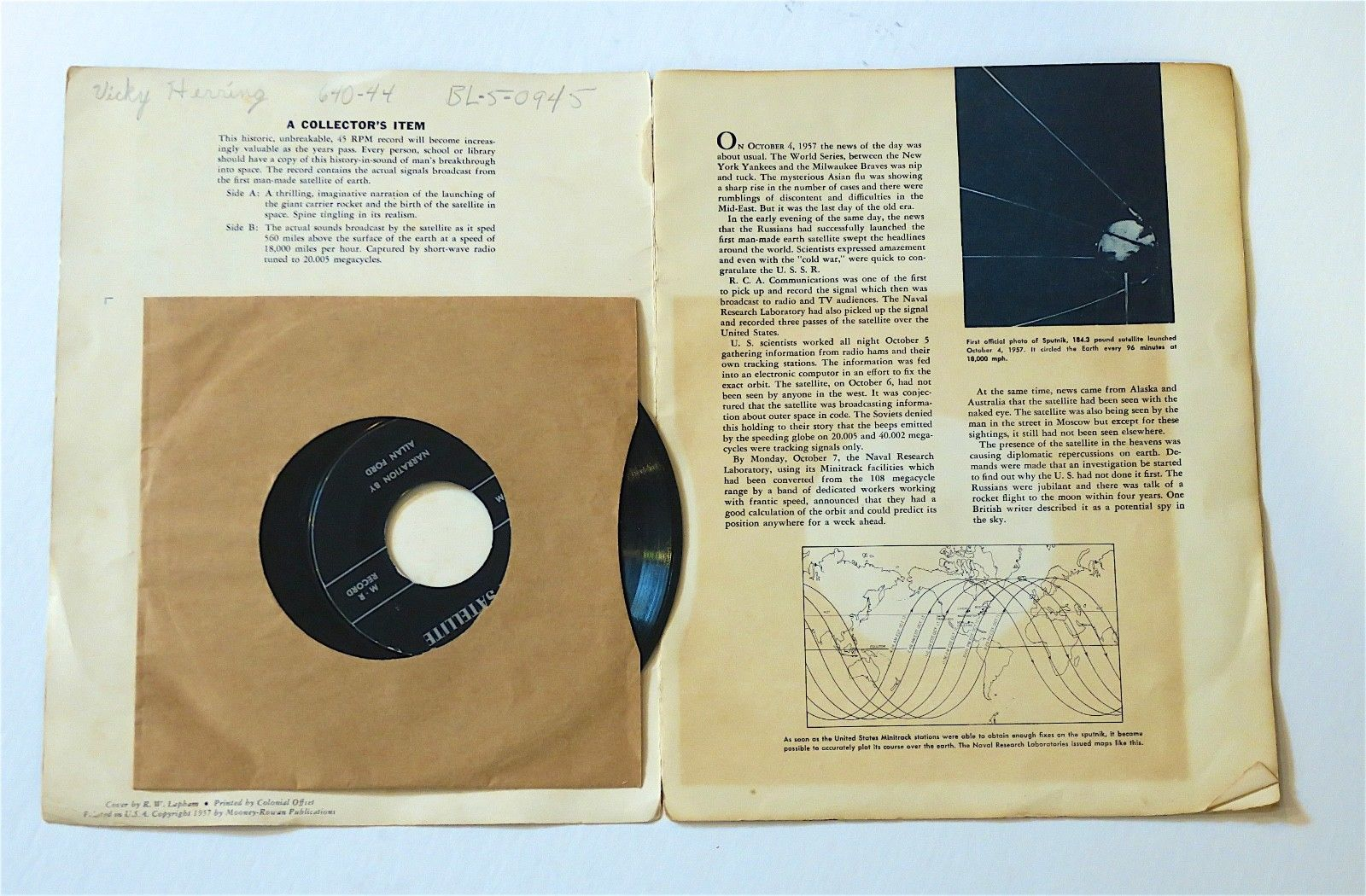 Rare, Vintage Spoken & Sound Recording: The Earth Satellite 45 rpm from 1957