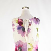 White purple floral print ANN TAYLOR LOFT sleeveless shift dress 10 image 8