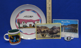 Arizona Hoover Dam Souvenir Plate Vintage Postcard & Cups Lot of 5 - $16.92