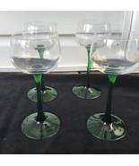 Set of 4 Petit Vin Du Rhin Vintage Green Stem Luminarc French Wine Glasses  - $29.99