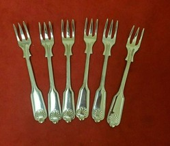 6  Fiddle Shell Silverplate Cocktail forks made by Kent Sheffield Englan... - $39.00