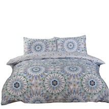 MOROCCAN MANDALAS STARS BLUE COTTON BLEND SINGLE 5 PIECE BEDDING SET - $50.79