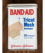 Vintage Hinged-Lid Tin Band-Aid Box Johnson & Johnson Tricot Mesh Bandag... - $14.92