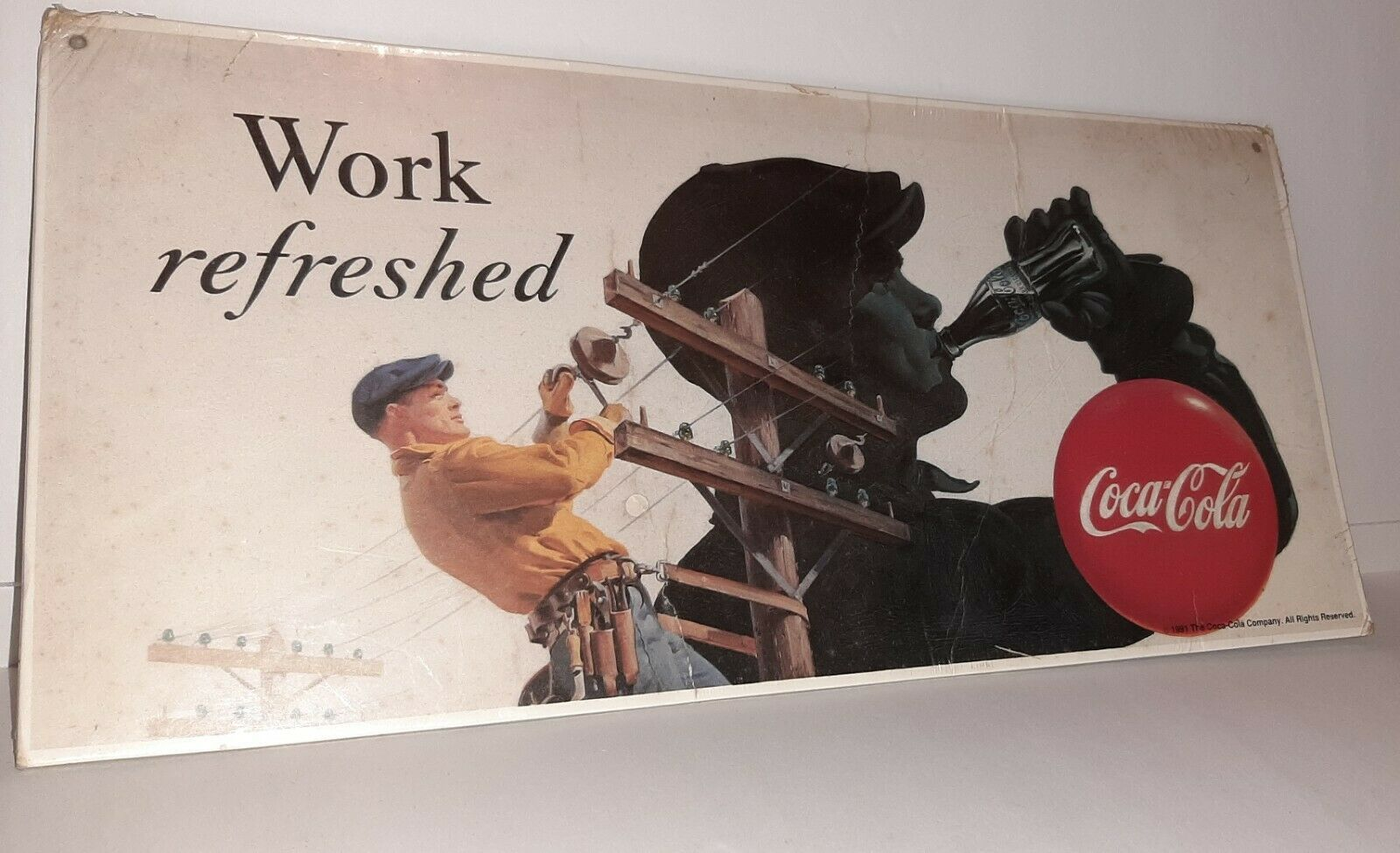 "Primary image for Coca Cola Billboard Mini Reproduction Sign 15x7""  Lineman Work Refreshed 1991"