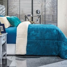 Mykonos Deep Blue Color Platinum Super Soft Blanket With Sherpa Queen Size - $89.09