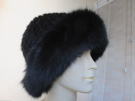 Free shipping /  real mink fur knitted  with fox fur  cap/hat/ black - $48.51