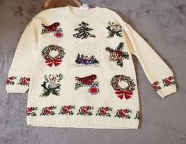 Talbots Vintage Wool Knit Winter Scene Christmas Sweater Womens Size XL - $27.72